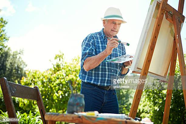 Painting makes him feel alive