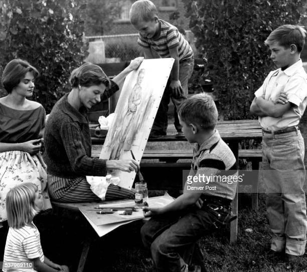 Painting Mom Has Plenty of Models Mrs Florence Foster Lynne Jana Toby and Kevin Mrs Foster Credit Denver Post