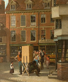 Painting of a cobbled street with red shops in the background A group of figures stand in line behind a box on a wooden stand To the right of the box...