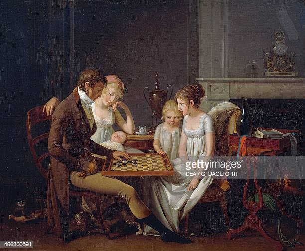Painting of a family game of checkers ca 1803 by Louis Leopold Boilly oil on canvas France 19th century