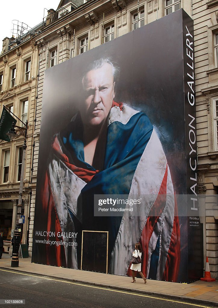 A painting of actor Ray Winstone by artist Mitch Griffiths dominates a giant hoarding surrounding Halcyon Gallery's new premises at 144-146 New Bond Street on June 16, 2010 in London, England. The 10,000 square foot contemporary art space is set to open later this year.