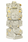 Hand painted image of an aztec mayan greek key design grey stone tribal totem pole memorial with gold accents.