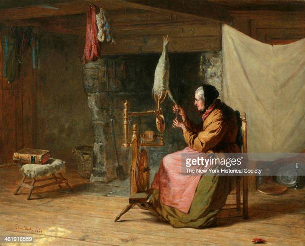 Painting of an old woman spinning flax 1861