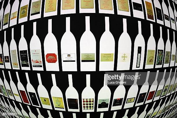 A painting of Bottles of wine exposed at the Vinitaly on April 4 2009 in Verona Italy Vinitaly the international wine and spirit exhibition runs from...
