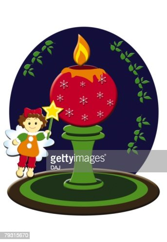Painting of Christmas candle and angel, Illustration : Foto stock
