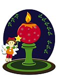 Painting of Christmas candle and angel, Illustration