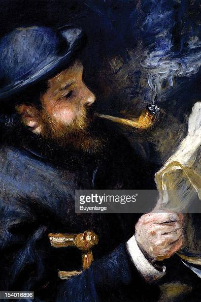 Painting of Claude Monet Reading A Newspaper while smoking a pipe 1875