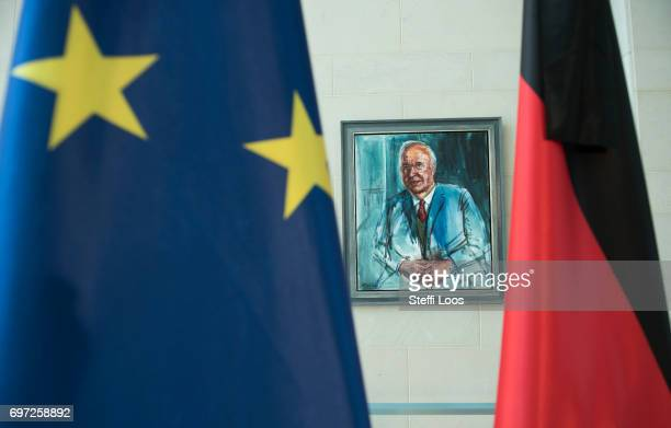 A painting of former chancellor Helmut Kohl is displayed on the wall at the Chancellery on June 18 2017 in Berlin Germany Kohl who was chancellor of...