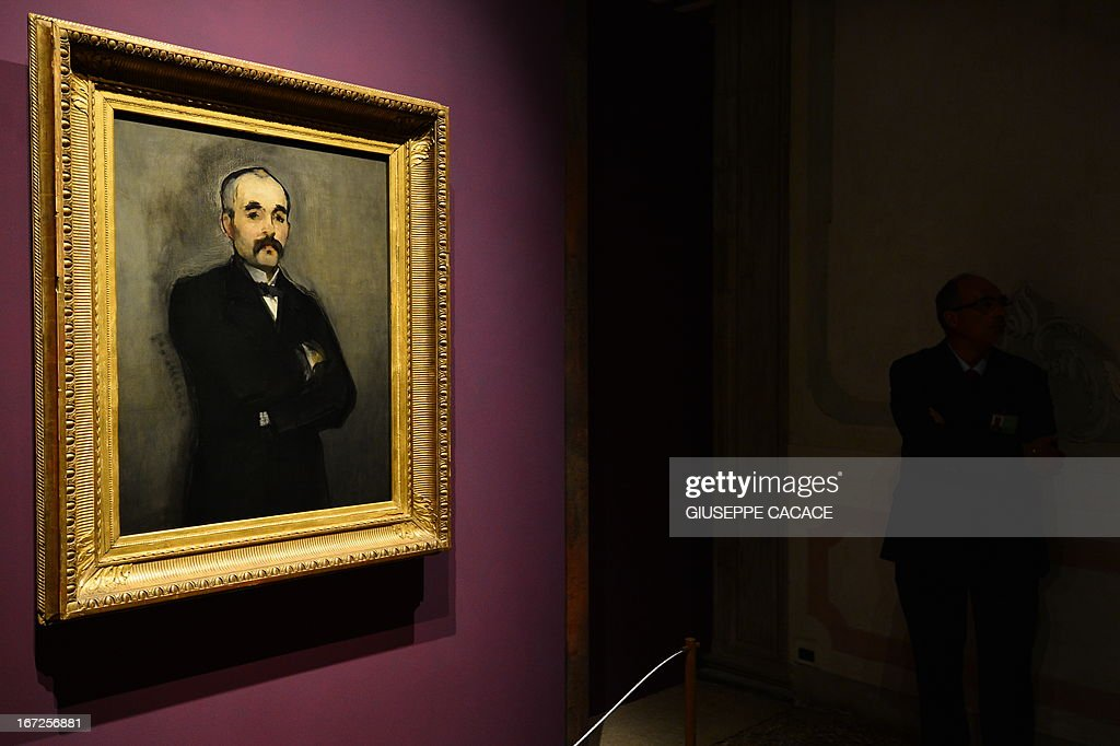 A painting of French painter Edouard Manet is displayed on April 23,2013 in Venice, during the 'Manet Return to Venice' exhibition, which runs until 18 August 2013, at the Doge's Palace in Venice. Edouard Manet's 'Olympia' will be appearing alongside the Titan's 'Venus of Urbino' a masterpice of Renaissance and source of ispiration for the French artist.