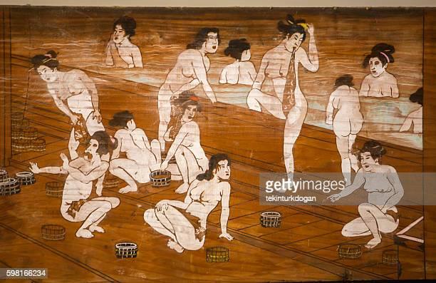 painting of japanese women in  bath at toei-studio kyoto japan