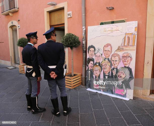Painting of Leaders of G7 Summit are show in the island of Sicily in Taormina Italy on May 27 2017