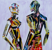 Do you come here often, Painting of mannequin,robotic style models interacting.