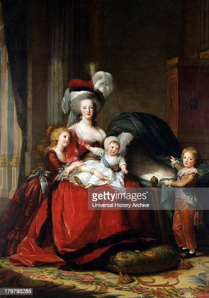 Painting of Marie Antoinette de Lorraine Hapsburg Queen of France and her Children by Louise Elisabeth VigéeLebrun Oil on canvas 1787 Versailles