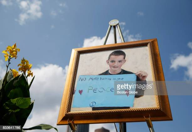 A painting of Martin Richard hangs at the official groundbreaking for Martin's Park at Smith Family Waterfront in Boston on Aug 16 2017 Hundreds...