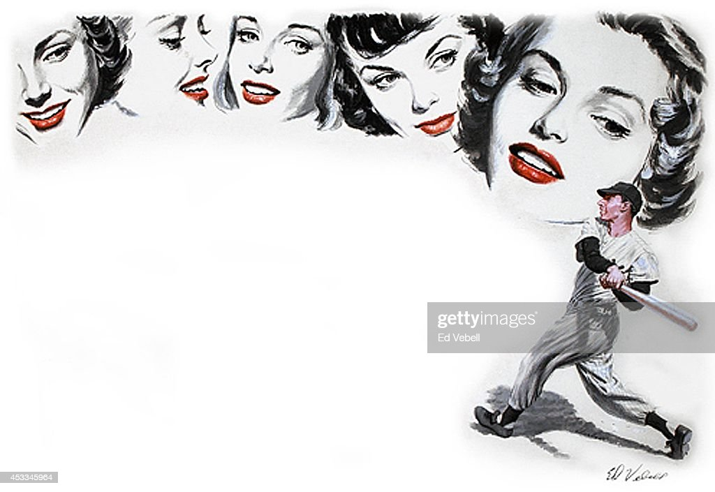 A painting of New York yankees slugger <a gi-track='captionPersonalityLinkClicked' href=/galleries/search?phrase=Joe+DiMaggio&family=editorial&specificpeople=93596 ng-click='$event.stopPropagation()'>Joe DiMaggio</a> surrounded by adoring female fans several of whom are the likeness of a19 year old model and actress Grace Kelly in 1949 in New York City, New York.