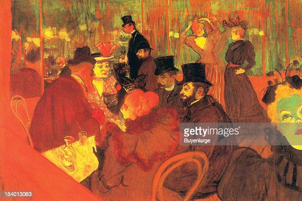 Painting of Party sits at a table in the Moulin Rouge with carafe 1900
