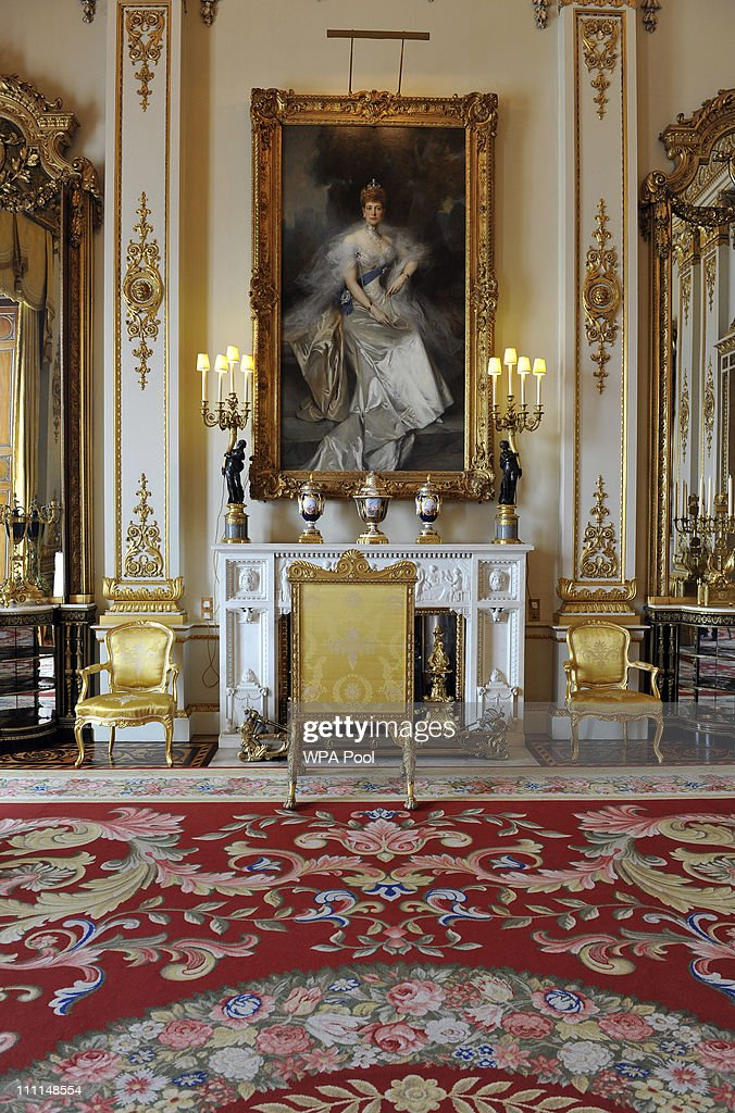 A painting of Queen Alexandra, wife of Edward VII, by Francois Flameng, in the White Drawing Room, which will be used during the wedding reception of Prince William and Kate Middleton at Buckingham Palace on March 25, 2011 in London, England. Prince William will marry his long term girlfriend Kate Middleton on April 29, 2011 at Westminster Abbey and it was reported that the couple had chosen two Wedding cakes for their big day - a 'multi-tiered traditional fruit case with a floral design and a chocolate biscuit cake.'