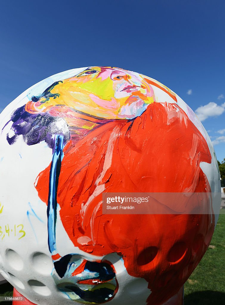 A painting of Rory McIlroy of Northern Ireland is pictured on a giant golf ball during a practice round prior to the start of the 95th PGA Championship at Oak Hill Country Club on August 5, 2013 in Rochester, New York.