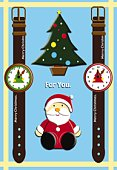 Painting of Santa Claus, Christmas tree and watches, Illustration