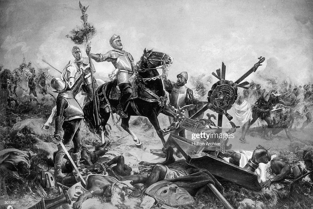 Painting of Spanish conquistador and conqueror of Mexico Hernando Cortes (1485 - 1547) leading his army in battle against the Aztecs, circa 1520.