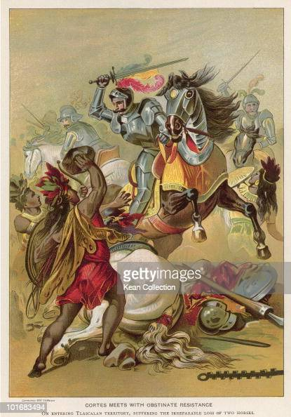 A painting of Spanish conquistador Hernando Cortez circa 1500 'Cortes meets with obstinate resistance'