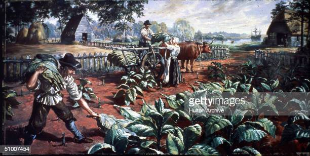 Painting of three farm workers harvesting tobacco leaves on a Virginia plantation with farm buildings visible as a sailing ship lies anchored on the...