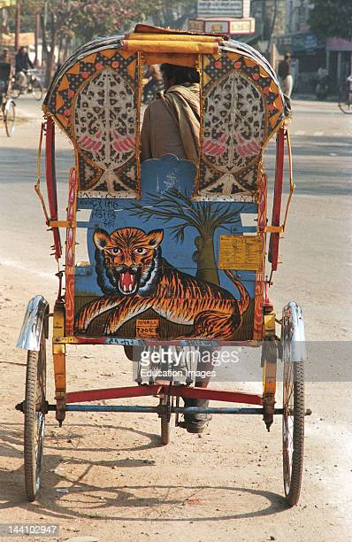 Painting Of Tiger On TriCycle Rickshaw Allahabad City Uttar Pradesh India