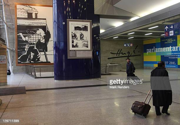 A painting of Tintin is displayed on the Tintin route at Gare du Midi on October 19 2011 in Brussels Belgium