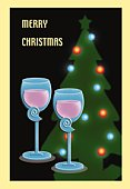 Painting of two champagne glasses and Christmas tree, Illustration