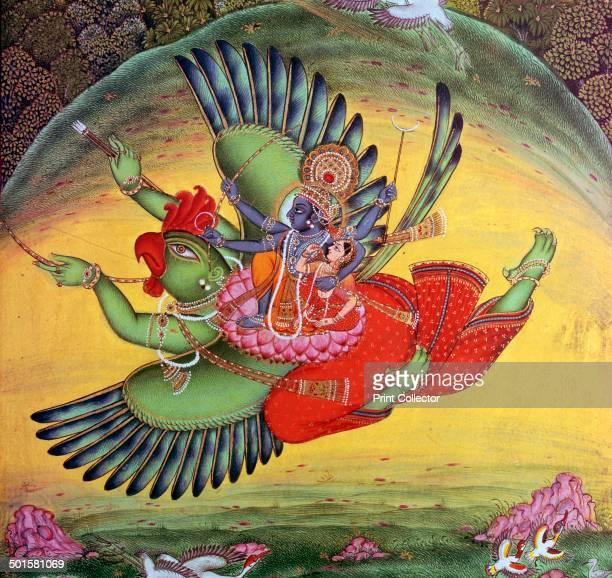 Painting of Vishnu and his consort Lakshmi riding on the birdgod Garuda Originally from Bundi from the VA's collection