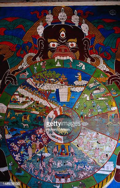 Painting of Wheel of Cyclic Existence at the entrance to the Jharkot monastery.