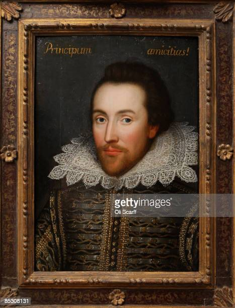 A painting of William Shakespeare which is believed to be the only authentic image of Shakespeare made during his life is unveiled by The Shakespeare...