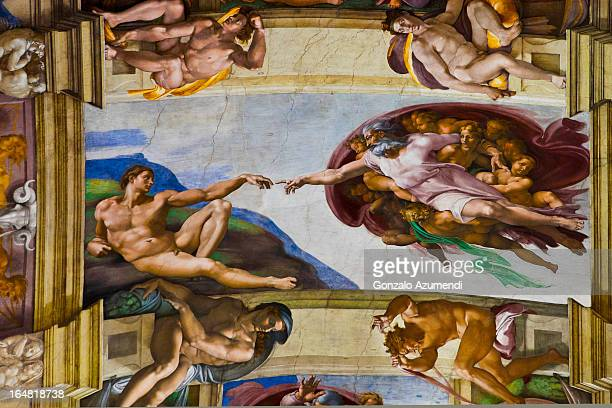 Painting on ceiling of the Sistine Chapel.