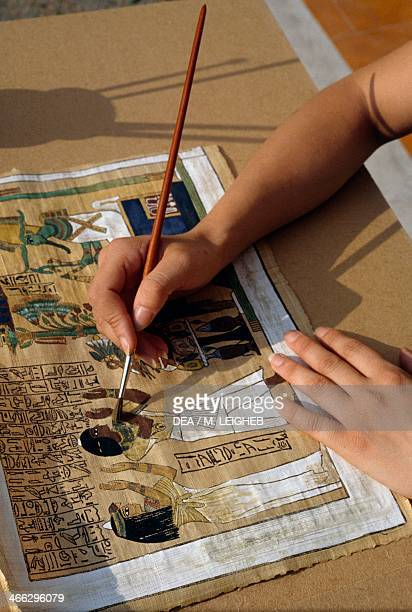 Painting on papyrus paper Syracuse handicrafts Sicily Italy