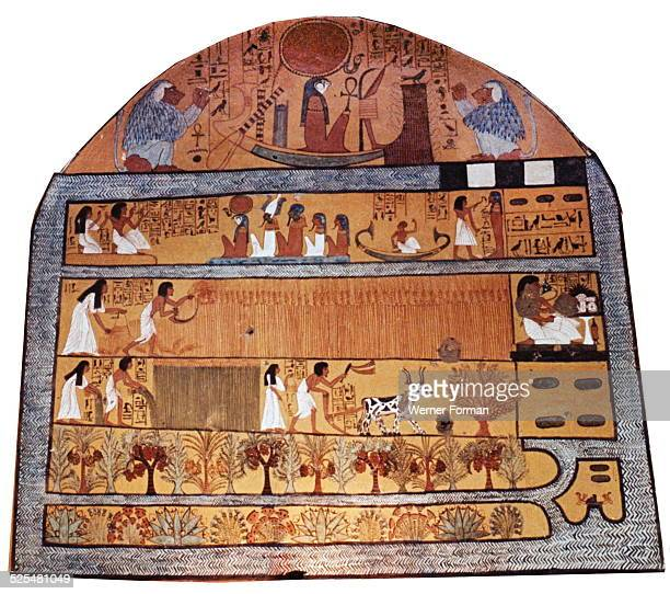 A painting on stucco in the tomb of Sennedjem The second register from the top shows Sennedjem and his wife ploughing and reaping flax or wheat in...