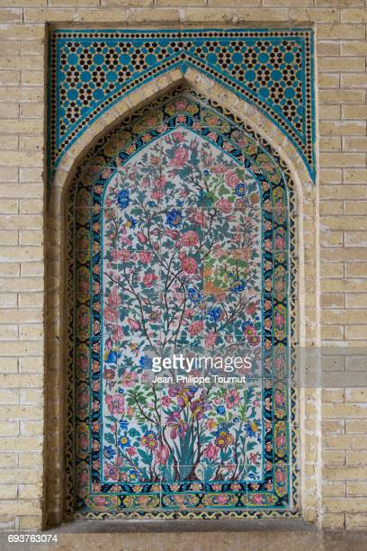 Painting on tiles in Nasir Al Molk Mosque, Shiraz, Fars Province, Iran