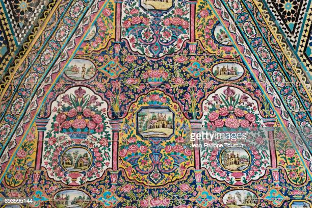 Painting on Tiles in the Courtyard of Nasir Al Molk Mosque, Shiraz, Fars Province, Iran