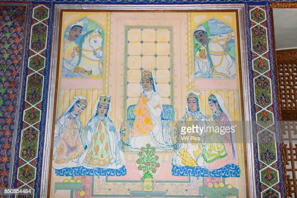 Painting on wall in smoking room House of Alexander Polovtsev Museum of Applied Arts Tashkent Uzbekistan