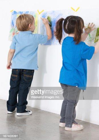 Gemälde preschoolers : Stock-Foto