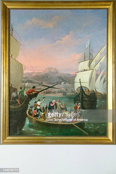 Painting 'The Departure from La Rabida' by Cabral Bejarano depicts the departure of Christopher Columbus to the New World as seen at the 15thcentury...