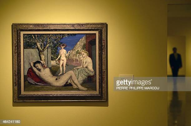 Painting 'the dream' by Belgian artist Paul Delvaux hangs from the wall during the presentation of Delvaux exhibition at the Thyssen Bornemisza...