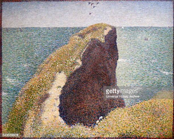 Painting titled 'Le Bec du Hoc Grandcamp' by GeorgesPierre Seurat a French postImpressionist painter and draftsman Dated 19th Century
