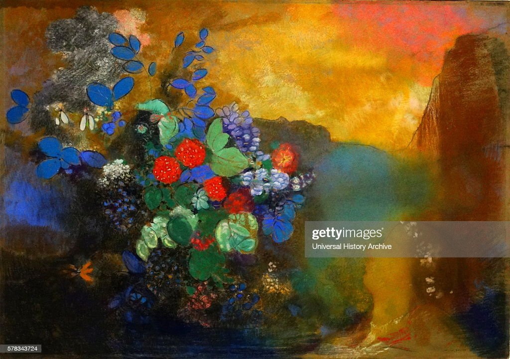 Painting titled 'Ophelia among the Flowers' by Odilon Redon a French symbolist painter printmaker draughtsman and pastellist Dated 20th Century