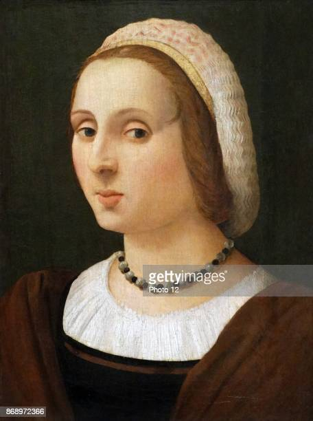 Painting titled 'Portrait of a Lady' by Vincenzo Tamagni Italian painter of the Renaissance Dated 16th Century