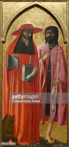 Painting titled 'Saint Jerome and John the Baptist' by Masaccio Italian painter of the Quattrocento period of the Italian Renaissance Dated 15th...
