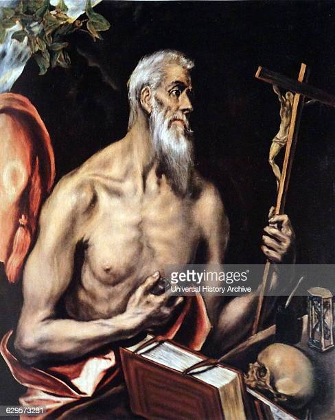 Painting titled 'Saint Jerome in Penitence' by El Greco a painter sculptor and architect of the Spanish Renaissance Dated 17th Century
