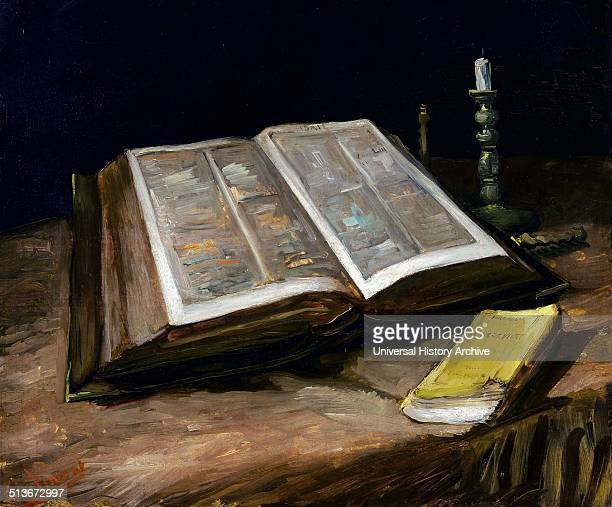 Painting titled 'Still Life with Bible' by Vincent van Gogh postImpressionist painter of Dutch origin Dated 1885