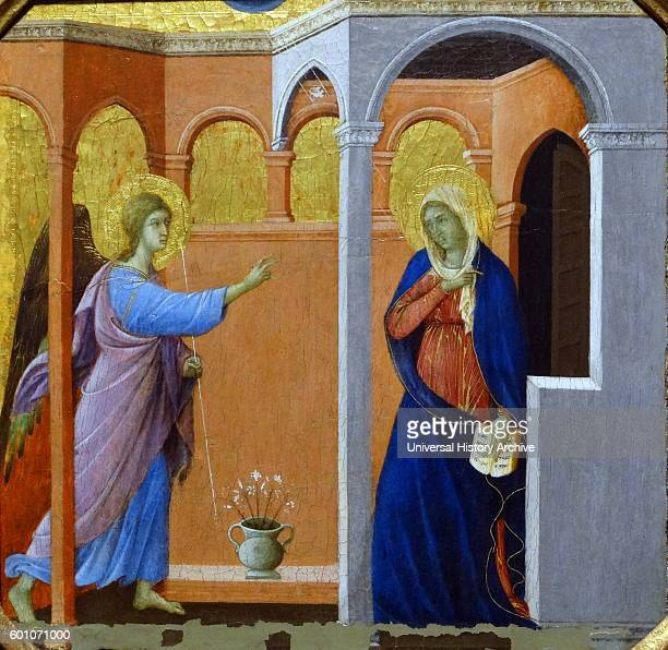 Painting titled 'The Annunciation' by Duccio di Buoninsegna an Italian painter Dated 14th Century