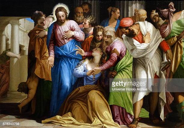 Painting titled 'The Conversion of Mary Magadalene' By Paolo Veronese an Italian Renaissance painter Dated 16th Century