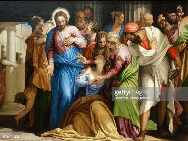 Painting titled 'The Conversion of Mary Magdalene' by Paolo Veronese an Italian Renaissance painter Dated 16th Century